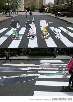 funny Abbey Road art Snoopy