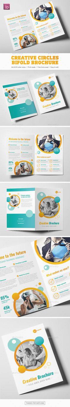 Creative Circles Bifold Brochure - #Corporate #Brochures Download here: https://graphicriver.net/item/creative-circles-bifold-brochure/19691395?ref=alena994