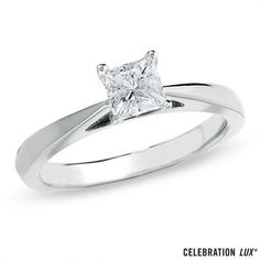 Celebration+Lux®+1/2+CT.+Princess-Cut+Diamond+Solitaire+Engagement+Ring+in+18K+White+Gold+(I/SI2)
