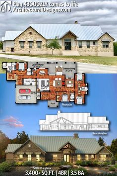 Architectural Designs Hill Country House Plan 430002LY gives you 4 beds, 3.5 baths and over 3,400 square feet of heated living space. Ready when you are. Where do YOU want to build? #430002LY #adhouseplans #architecturaldesigns #houseplan #architecture #newhome #newconstruction #newhouse #homedesign #dreamhome #dreamhouse #homeplan #architect #architect #houses #house #homesweethome #hillcountry #hillcountryhome #customhome