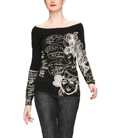 Take a look at this Black & White Graphic Off-Shoulder Top on zulily today!
