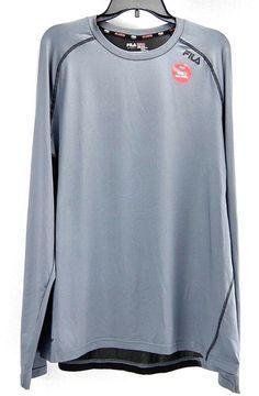 9d9fd969e41f Fila Mens XXL Long Sleeve Running Shirt Gray Black Polyester Stretch Mesh  Back #Fila #