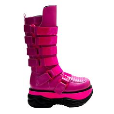 Neptune 310UV Hot Pink High platform buckle on panel UV knee boots