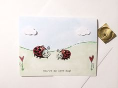 you're my love bug with super cute ladybugs dimensional clouds, OOAK, made on recycled paper comes with envelope and seal on Etsy, $3.75