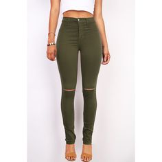 Pink Ice Slashed High Waist Skinny Pants ($40) ❤ liked on Polyvore featuring pants, green, tencel pants, pink pants, skinny trousers, pink jeggings and zipper pants