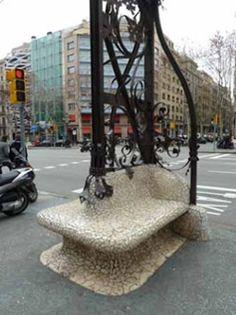 Tiled street seating in Barcelona
