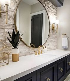 Great Bathroom Decor Ideas nailed it when they picked the perfect sconces by the Margeaux Collation. To see more of what Hinkley has to offer check them out on our website (link in bio).Read More Modern Bathroom Design Ideas House Design, House, Interior, Home, New Homes, House Interior, Bathrooms Remodel, Bathroom Design, Bathroom Decor