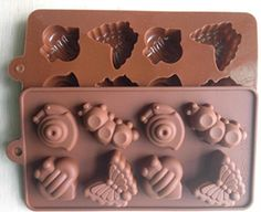 AllforhomeTM 8 Cavity Lovely Bee Snail Butterfly Caterpillar INSECT icing cupcake topper mold Jelly Chocolate Cupcake Cake topper Wax Silicone Mould pan *** Read more reviews of the product by visiting the link on the image from Amazon.com