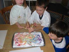 preschool activities rainbow shaving cream