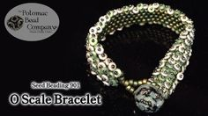 """This video tutorial from The Potomac Bead Company teaches you how to make our new """"O Scale Bracelet,"""" which uses a peyote stitch base of Miyuki beads, an. Beaded Bracelets Tutorial, Beaded Bracelet Patterns, Jewelry Patterns, Beaded Jewelry, Jewelry Bracelets, Jewellery, Diy Jewelry Videos, Jewelry Making Tutorials, Free Tutorials"""