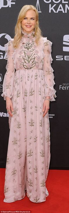 Nicole Kidman:This Giambattista Valli is a tad too much like a nightie – and far too frilly – but it's a very millennial shade, enlivened with ferns