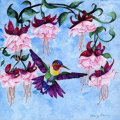 HUMMINGBIRD 2. 12x12 original on canvas board, white frame, ready to hang. I grew up in the shadow of the Cascades, the beauty of the Pacific Northwest inspired a love of nature and wildlife. I also love doing the domestic pets and have done portraits of dogs, cats and horses for many years.   eBay!