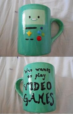 Adventure time BMO Mug!! (BMug) Need to make this over the Summer at the pottery place.