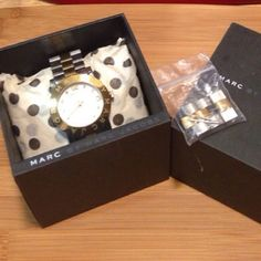 Marc Jacobs Watch2 Tone Silver & Gold Marc By Marc Jacobs Watch2 Tone Silver & Gold • pic 4 tiny scratch on the face • extra links & Box included •Small wrists/hands • in EUC • free gift included Marc by Marc Jacobs Accessories Watches