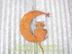 Rusty Cat on Crescent Moon Recycled Metal by GeminiDragonfly, $48.00