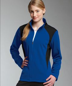 Buy the Charles River Apparel 5077 Women's Hexsport Bonded Jacket from SweatshirtStation.com, on sale now for $37.43 Royal/Black #sportsjacket #cheerleading #dancejacket