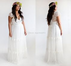 2015 Plus Size Beach Wedding Dresses Long Lace Bridal Gowns A-Line Sweetheart Backless Cap Sleeve Cheap Wedding Gown Bridal Dress Online with $115.19/Piece on Magicdress2011's Store   DHgate.com