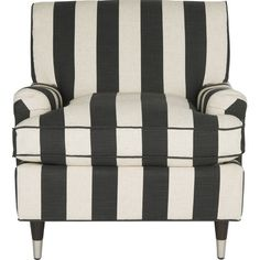 Bold black and white stripes make this cozy arm chair an eye-catching statement piece in the library or den.  Product: Chair