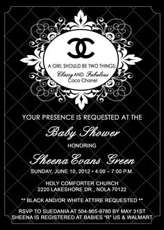 Chanel Theme Personalized Baby Shower by PartyCreations4u on Etsy, $10.00