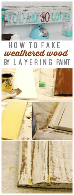Quick way to fake weathered wood by layering paint!