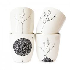 Draw on plain white mugs with black sharpie and get intricate designs like this!