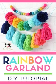 DIY Tiered Tassel Garland - Learn how to create a yarn pompom, tassel and felt ball garland with this simple diy tutorial featuring supplies from Joann Craft and Fabric Stores. Diy Tassel Garland, Felt Ball Garland, Pom Pom Garland, Tassels, Yarn Pom Poms, Fabric Garland, Joann Crafts, Fabric Crafts, Diy And Crafts