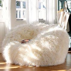 white fur bean bag chair   bean bag chair becomes stylish poof. love love love!