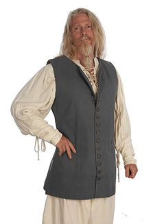 Men's Gray Cotton Canvas Twill Thigh Length Pirate Vest - http://www.deluxeadultcostumes.com/pirate-coats-jackets/