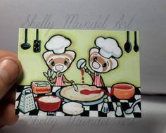 """ACEO Ferret Print """"Pizzas Need Pizza SAUCE! (Pizzeria)"""" Shelly Mundel Art NEW!!"""