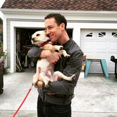 """""""Highlight of the past few days in lala land - Menzies meets MAK -- a match made....@tobiasmenzies #outlander #dogsofinstagram - hope our little buddy…"""""""