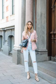 The Street Style coral jacket, ripped jeans closet ideas fashion outfit style apparel Daily Fashion, Fashion News, Fashion Outfits, Womens Fashion, Net Fashion, Street Fashion, Pink Suede Jacket, Pink Denim Jacket, Coral Jacket