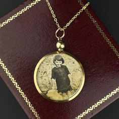 Antique Edwardian Solid Gold Double Sided Glass Locket Pendant