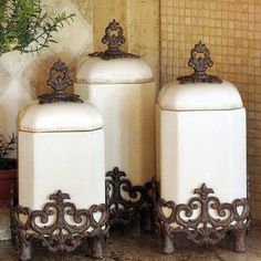 Complete your French Country or Old World decorating theme with this set of three wonderfully unique ceramic canisters. The Provencal series from the GG Collection is ideal for holding staples such as grains, sugar, flour and tea. Old World Decorating, Tuscan Decorating, French Country Decorating, French Decor, Decorating Ideas, Country French, Country Style, Ceramic Canister Set, Kitchen Canister Sets