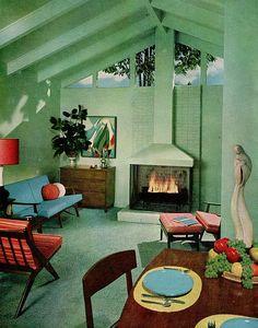 Cozy! Sherwin William Home Decorator 1959 [sixties vintage mid century modern fireplace]