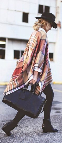 Warm tones. Plaid flannel. Loose poncho style.