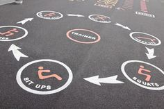 Our Fitness Trails are great thermoplastic playground markings for both break and lesson times. PRODUCT SHOWN: Fitness Trail Two Playground Painting, Playground Games, Outdoor Playground, School Hallways, School Murals, Power Walking, Fitness Trail, Fitness Diet, Fitness Goals