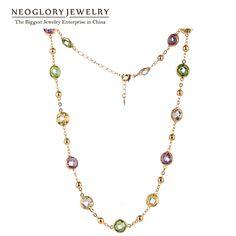 Neoglory MADE WITH SWAROVSKI ELEMENTS Кристаллов Позолоченные Ожерелья Цепи Моды Макси Длинные Ожерелья Для Женщин 2017 Ювелирные Изделия Нью-