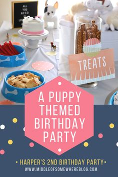 An adorable puppy themed birthday party for girls; dog themed birthday party, including Minted decor and a custom letterboard Puppy Birthday Parties, Puppy Party, Dog Birthday, Birthday Themes For Girls, 2nd Birthday Party For Girl, Paris Birthday, Happy Birthday, Fourth Birthday, First Birthdays