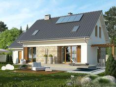 Prosty projekt domu Ideal. Nowoczesne projekty domów tanich w budowie. Domy z pergolą #dom #tanidom