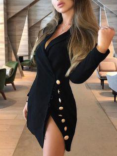 Button Side Design Blazer Dress - Working Dresses - Ideas of Working Dresses Blazer Outfits, Blazer Fashion, Blazer Dress, Dress Outfits, Fashion Dresses, Casual Blazer, Sleevless Blazer, Classy Outfits, Sexy Outfits