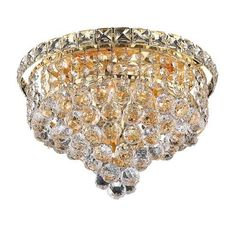 Tranquil Gold Four-Light 12-Inch Flush Mount with Royal Cut Clear Crystal