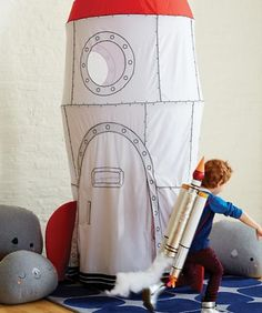 Blast off into a world of imagination and space exploration with our kids rocket ship playhouse. Ideal for a bedroom, playroom or basement, our To The Moon Playhouse Canopy will provide hours of fun for your future astronauts.