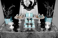 Gorgeous Tiffany's birthday party dessert table and backdrop!  See more party ideas at CatchMyParty.com!