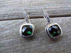 Green amethyst earrings in sterling silver 925 by Billyrebs, $119.00