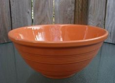 """Pacific Pottery Los Angeles California Large Vintage 1930s Peach #9R Hostessware Mixing Bowl 10 3/4"""""""