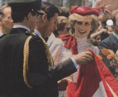 June 14, 1983: Prince Charles & Princess Diana on a walkabout at on their arrival at Garrison Grounds, Halifax, Canada. (Day 1).