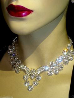 Rhinestone Choker Necklace Earring Set Austrian Crystal Bridal Pageant Prom