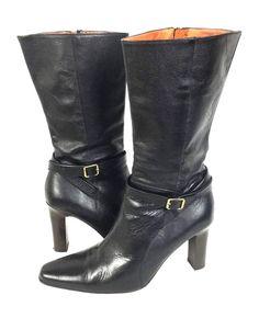 J CREW Boots Womens Black LEATHER Heels 8 #JCrew #MidCalfBoots #WeartoWork