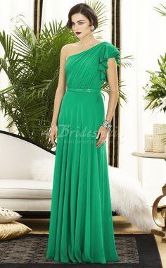A-line One Shoulder Velvet Chiffon Floor-length Clover Bridesmaid Dresses(BD261)