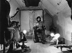 Tobe Hooper on the Texas Chainsaw set.